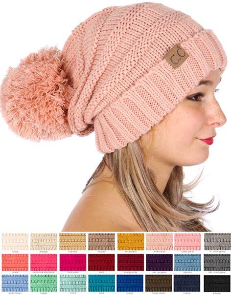 Pompom Beanie Hat slouchy cc beanie hat with pom pom