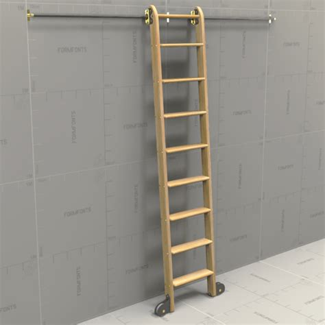 Ladder Desk And Bookcase Generic Rolling Ladder 3d Model Formfonts 3d Models