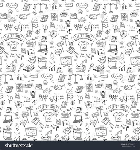 doodle poll confidential seamless pattern doodle vote stock vector