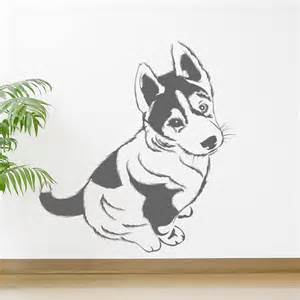 Puppy Wall Stickers Husky Puppy Dogs Animals Wall Art Stickers Wall Decal