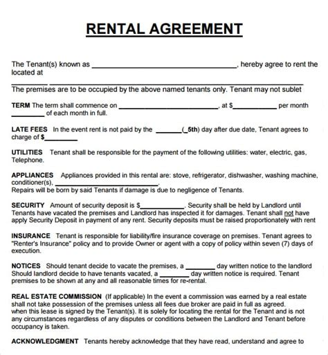 20 Rental Agreement Templates Word Excel Pdf Formats Lease Template