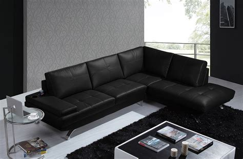 black leather modern sectional divani casa knight modern black leather sectional sofa