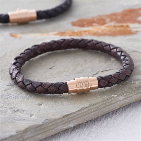 mens leather id bracelets s personalised gold clasp leather bracelet