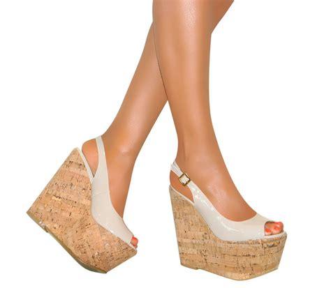 cork high heels slingback platform patent cork wedge high heel peep