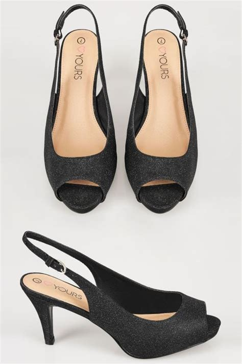 White Cath Flat Sling Back Sandals black glittery peep toe sling back heels in eee fit