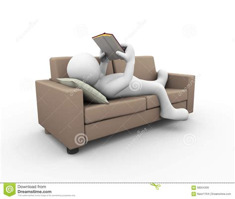 on the sofa 3d man reading book on sofa stock illustration image