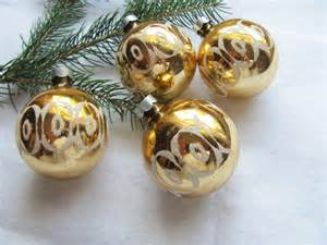 stenciled gold glass ornament 4 flocked christmas ball