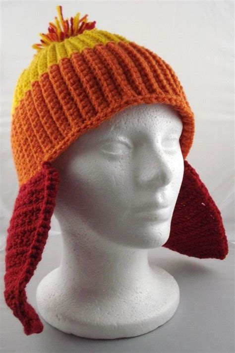 crochet pattern jayne hat crocheted stocking hat with earflaps in gold orange and