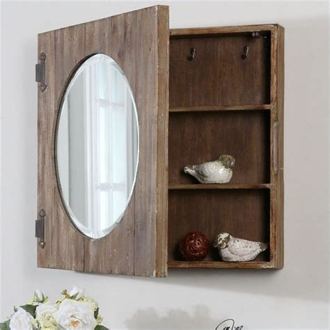 uttermost gualdo aged wood mirror cabinet country - Country Bathroom Mirrors