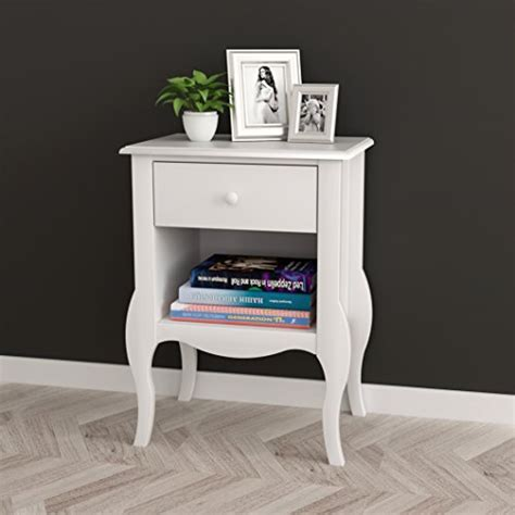 Curved Nightstand End Table White Nightstand Side End Table Curved Legs With Drawer And Open Space Furniture Tables Nightstands
