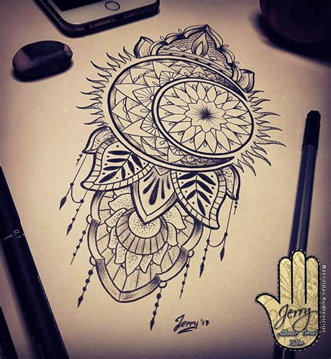 mandala moon tattoo sun and moon design idea mendi mandala drawing