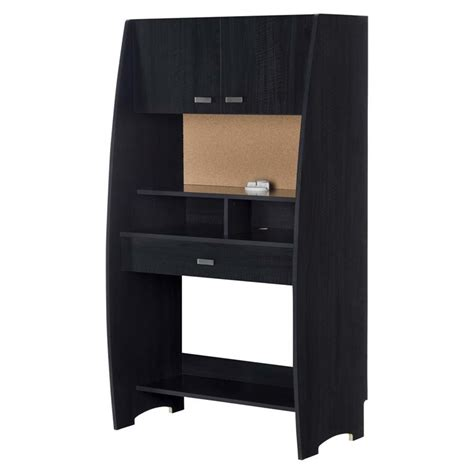 South Shore Reevo Writing Desk With Hutch In Black Onyx Black Writing Desk With Hutch