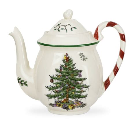 spode christmas tree candy cane handle mugs tree peppermint teapot by spode
