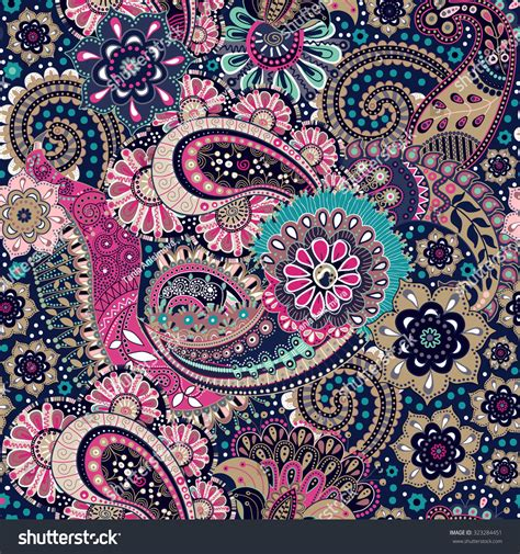 Selimut Patchwork Motif Purple Flower seamless paisley background floral pattern 스톡 벡터 323284451