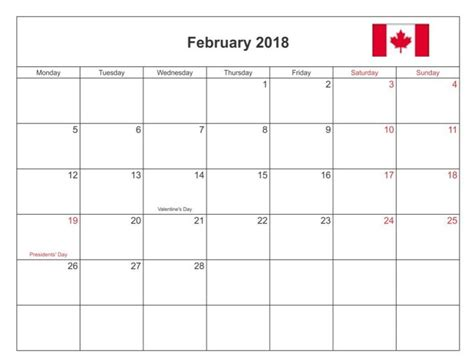 printable calendar canada 2018 february 2018 calendar canada with holidays printable