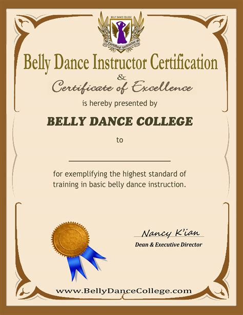 Certified belly dance training