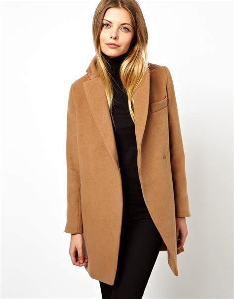 camel colored coat womens asos exclusive coat with contrast collar in brown lyst