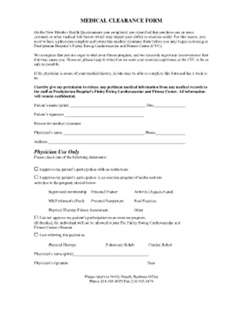 medical clearance form fill online printable fillable