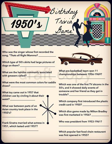 theme party quiz 1950 s birthday trivia game birthday party trivia 50 s