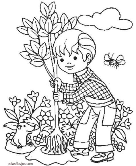 imagenes niños sembrando plantas dibujos de plantar 225 rboles para colorear