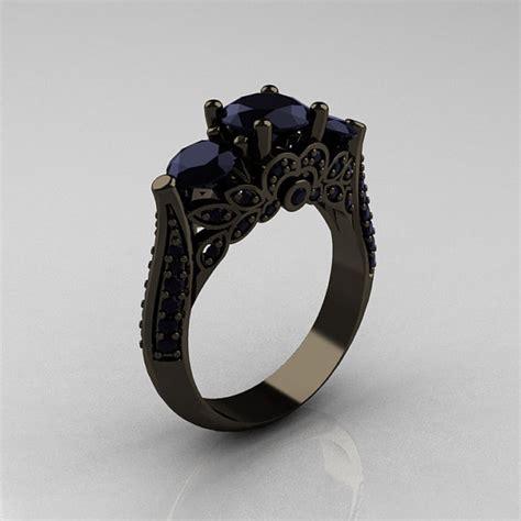 black gold rings black gold rings 3 diamonds ring