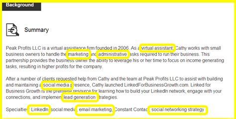 Keystone Strategy Mba Linktedin by Are The Right Keywords In Your Linkedin Summary Bg3 Llc