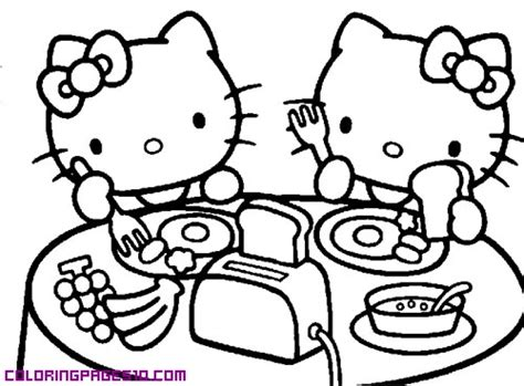 hello kitty cooking coloring pages hello kitty is having breakfast