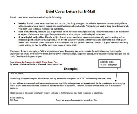 Brief Cover Letter For Application Application Cover Letter 8 Sles Exles Formats