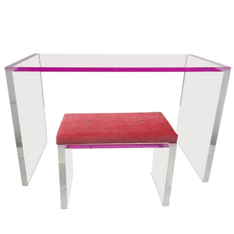 whimsical pink and clear acrylic desk and bench for sale