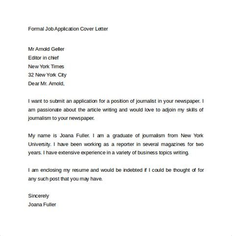 exle of formal letter for job application application cover letter 10 free sles exles format
