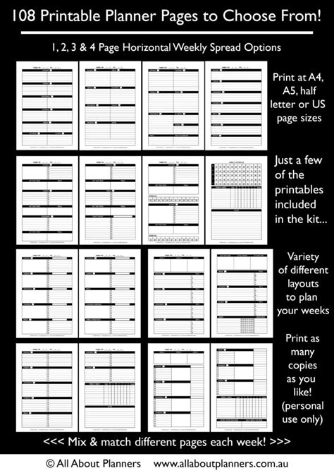 make your own planner pages template the create your own planner kit 108 printable pages to