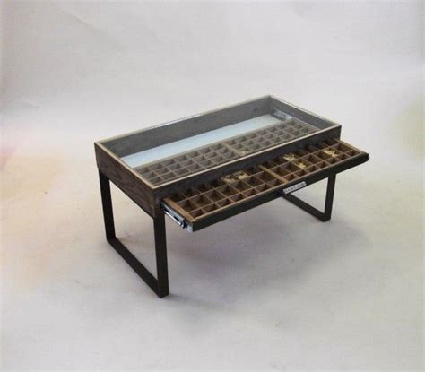 coffee table glass top display drawer woodworking