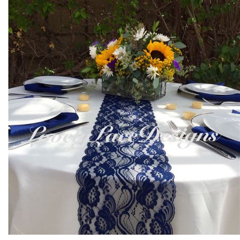 navy blue table runners wedding navy lace table runner 21ft to 28ft x 7 quot wide