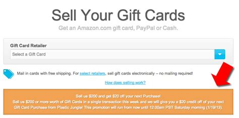 make money selling credit cards plasticjungle promotion sell 200 in gift cards get 20