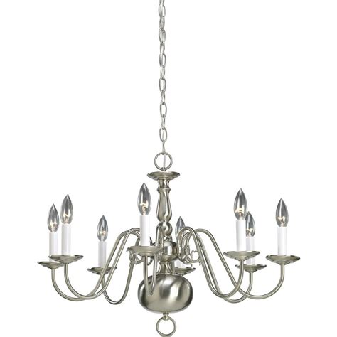 Chandelier Home Depot by Progress Lighting Americana Collection 8 Light Brushed Nickel Chandelier P4357 09 The Home Depot