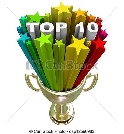 stock illustration of top ten ranking list showing best