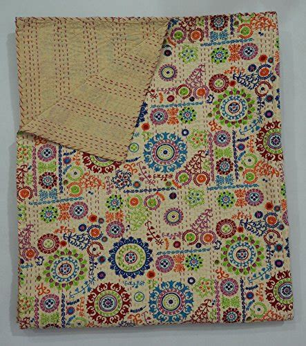 Where To Buy Handmade Quilts - beige floral print handmade suzani kantha quilt indian