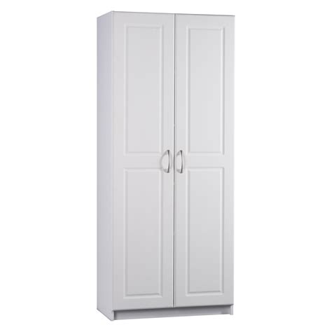 kitchen pantry cabinet white ameriwood contemporary deluxe double door pantry cabinet