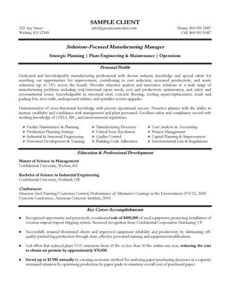 Resume Ideas For Managers by Manufacturing Manager Resume Exle Everything