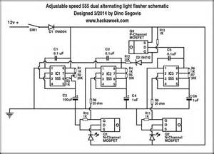 adjustable speed 555 dual alternating light flasher schematic hack a week