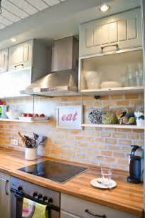 Faux Brick Backsplash In Kitchen Remodelaholic Tiny Kitchen Renovation With Faux Painted Brick Backsplash