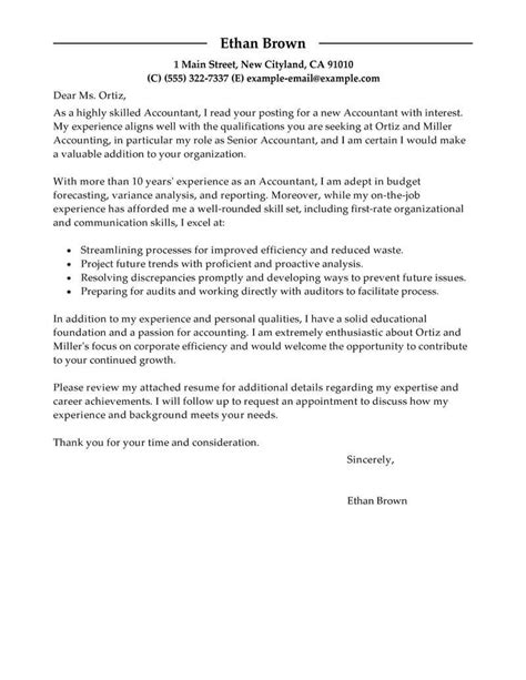 cover letters for accountants best accountant cover letter exles livecareer