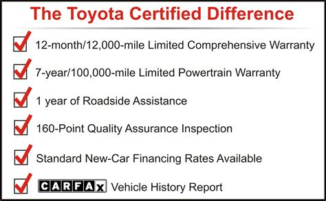 Toyota Certified Program Toyota Certified Pre Owned Vehicle Program