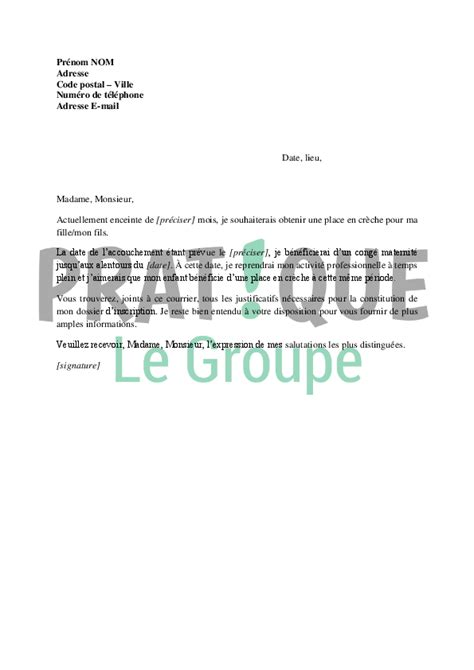 Exemple De Lettre Pour Quitter La Creche Lettre De Demande D Inscription 224 La Cr 232 Che Pratique Fr