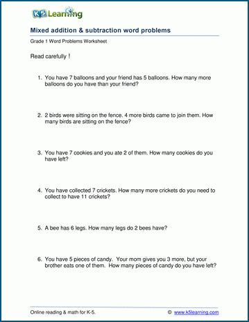 Addition Word Problems For Grade 1 Worksheets mixed addition and subtraction word problem worksheets for