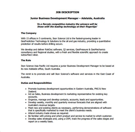 Responsibilities Of Business by Business Description Template 10 Business Development Description Templates Free Sle
