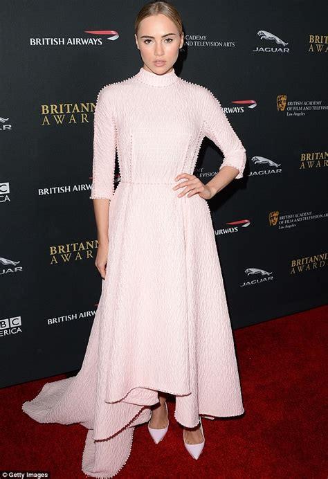 Dress Suki 11 D suki waterhouse covers up in dramatic powder pink gown at studded bafta britannia awards