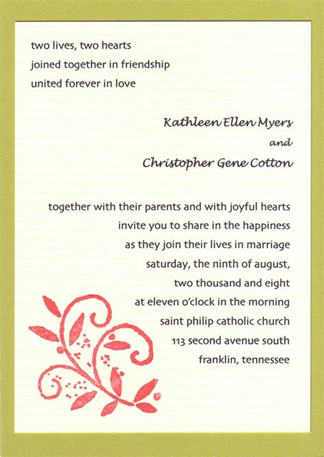 Wedding Invite Present Wording by 20 Popular Wedding Invitation Wording Diy Templates