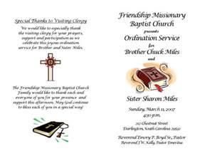 ordination service program chuck miles by patricia clay