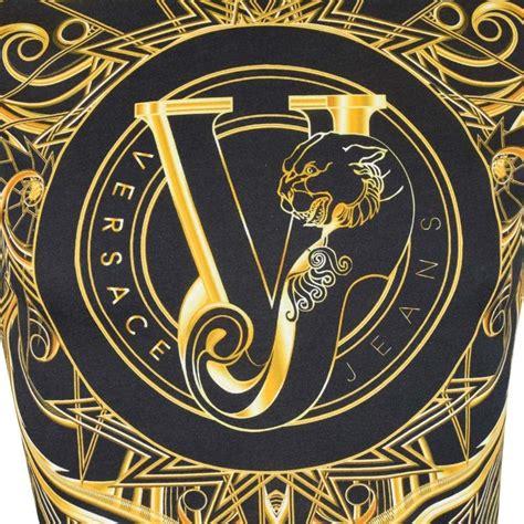 logo versace black versace versace black gold logo longsleeve t shirt versace from